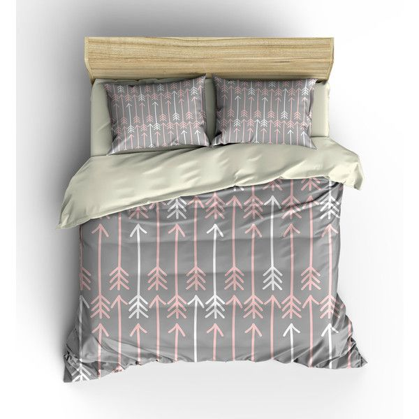 Boho Chic Bedding Duvet Cover Set Gray With Pink and White Arrows ($119) ❤ liked on Polyvore featuring home, bed & bath, bedding, duvet covers, home & living, silver, grey duvet, king size duvet cover sets, twin bedding and grey king duvet