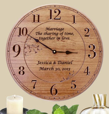 We made a special purchase to exlusively bring you this very beautiful personalized wall clock . It features a light cherry finish with large carved numerals. It can be expertly laser engraved with a poem, sentiment and names and date for a very beautiful personalized clock gift for weddings, anniversaries and other special gift giving occasions.   Dimensions: 17 in. round $65