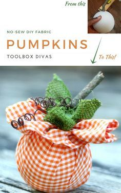 DIY No Sew Pumpkin Hack. Quick easy weekend craft project #Fall #Nosew #Pumpkins #ToolboxDivas via @Toolboxdivas