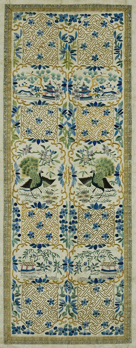 E-8052-L.  Chinese Embroidery with Peacocks