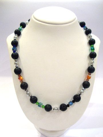 Santorini Greek Lava Stones 14 mm Handmade Long Necklace - Crystal & Metal Beads - 64 cm - 24.96 inches FREE SHIPPING on Etsy, 75,00€