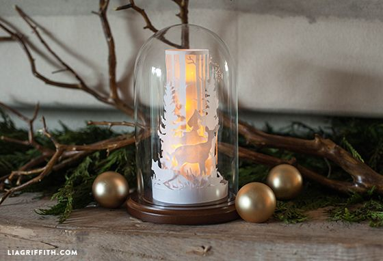 Paper Cut Winter Scene in a Glass Dome