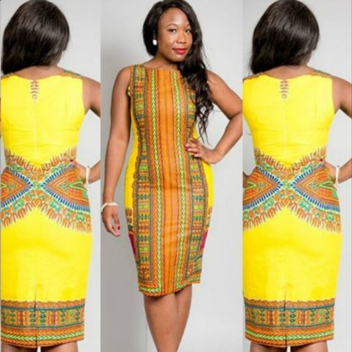 2015 Traditional African Womens Clothing Sleeveless Yellow Dashiki Bodycon Dress in Clothing, Shoes & Accessories, Women's Clothing, Dresses | eBay