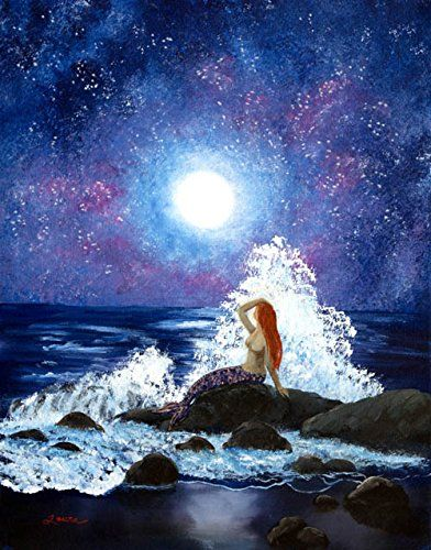 """Mermaid Moonbathing Night Stars Fantasy Seascape Iverson Original Painting. """"Mermaid Moonbathing"""" A redheaded mermaid basks in the glow of the luminous full moon, the sky dotted with stars. She smooths her hair back from the spray of a large wave crashing on the rocks. This fantasy landscape is an original acrylic painting on a gallery-wrapped stretched canvas (the 3/4"""" sides are finished off in black). It has been lightly varnished to protect the paint and preserve the lustrous colors...."""