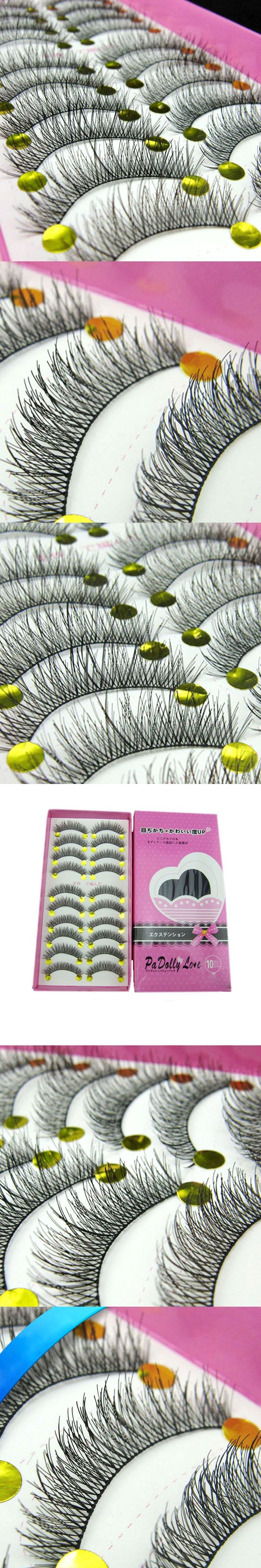10 Pair Natural False Eyelashes Long Eyelash High Quality Fake Eye Lashes Extension Band Makeup Crisscross False Eyelashes