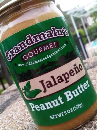 Jalapeno Peanut Butter, only in Texas! I wonder how this would taste with jalepeno jelly?????