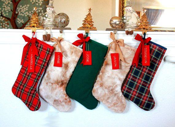 5 Family Christmas Stockings, Set of 5, custom stockings, Stockings for the family