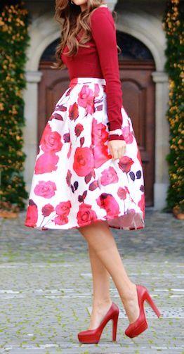 Rose print midi skirt