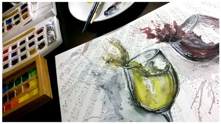 Akvarel obraz - originál A3 - Je třeba starých vín