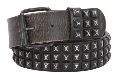 Snap On Oil Tanned Three Row Punk Rock Star Metal Distressed Black Studded Vintage Full Grain Cowhide Leather Antique Hammered Belt beltiscool. $50.04