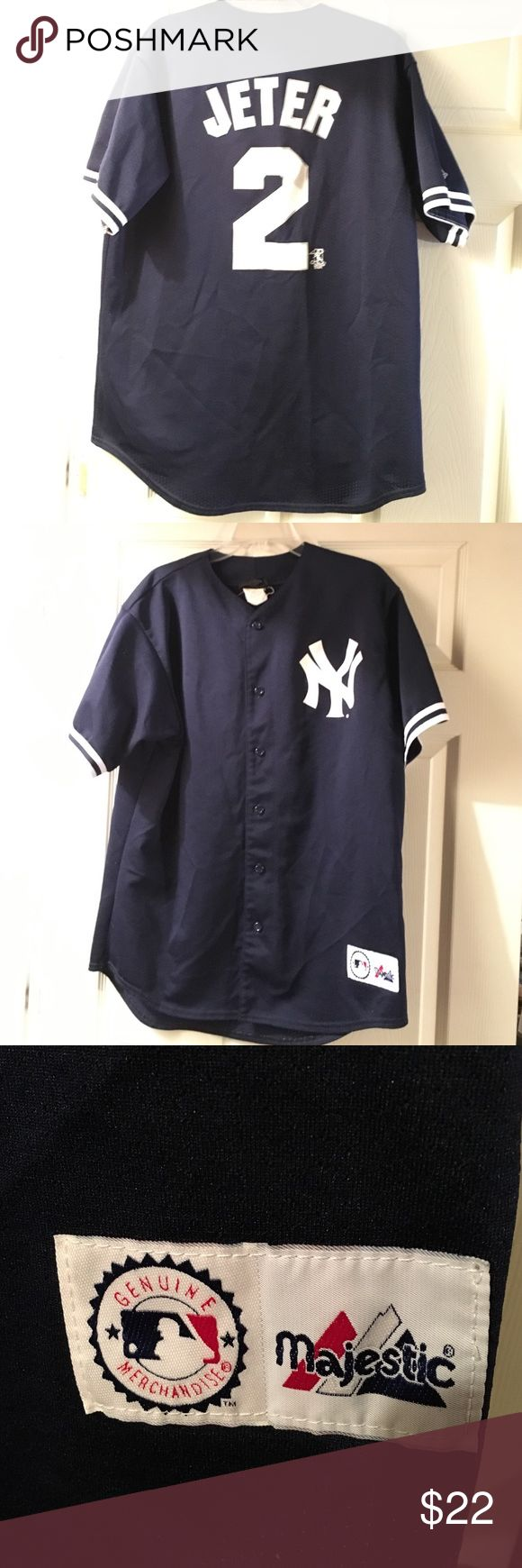 Derek Jeter baseball jersey Bought for his last game playing here in Boston. Not a Yankee fan. But loved him! I'm from Boston! Will no longer wear. Majestic Shirts
