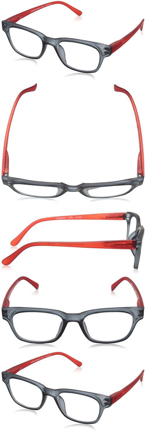 Peepers Style Two 335125 Wayfarer Readers, Gray/Red, 1.25