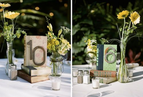 Vintage Wedding Ideas // Books = Table #s