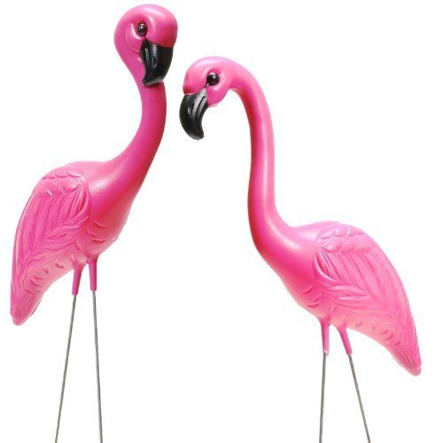 Set Of 2 Pink Flamingo Novelty Yard Lawn Art Garden