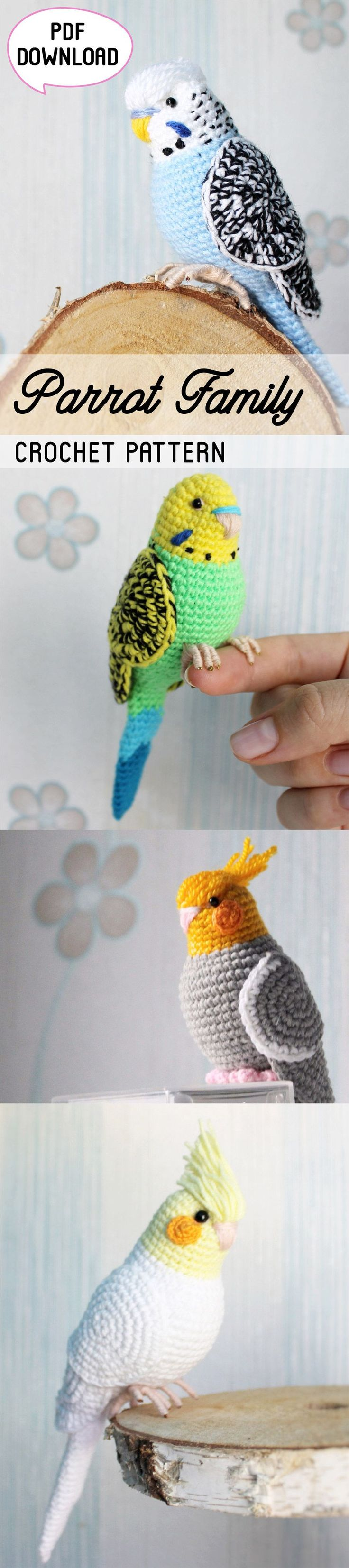 Parrot Crochet Pattern - this cute amigurumi pattern is available in four variations. These fun budgies would be perfect as home decor items for kids room, as toys or as a cute gift for a friend. #ad #etsy #crochetpattern #amigurumi #crochet #amigurumipattern #patternsforcrochet #parrothacks