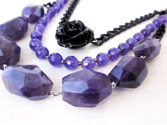 Purple Amethyst Stones & black coral rose necklace at EjiLand, $55.00 #handmadejewelry #gemstones #amethyst #purple #statementnecklace #designer #jewelrydesigner #sellinghandmadejewelry #handmadenecklace #violet #violetnecklace #womanjewelry #womanaccessories