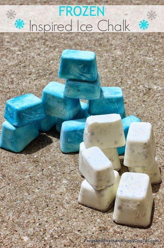 DIY Ice Chalk play recipe.  Fun FROZEN theme for playtime.