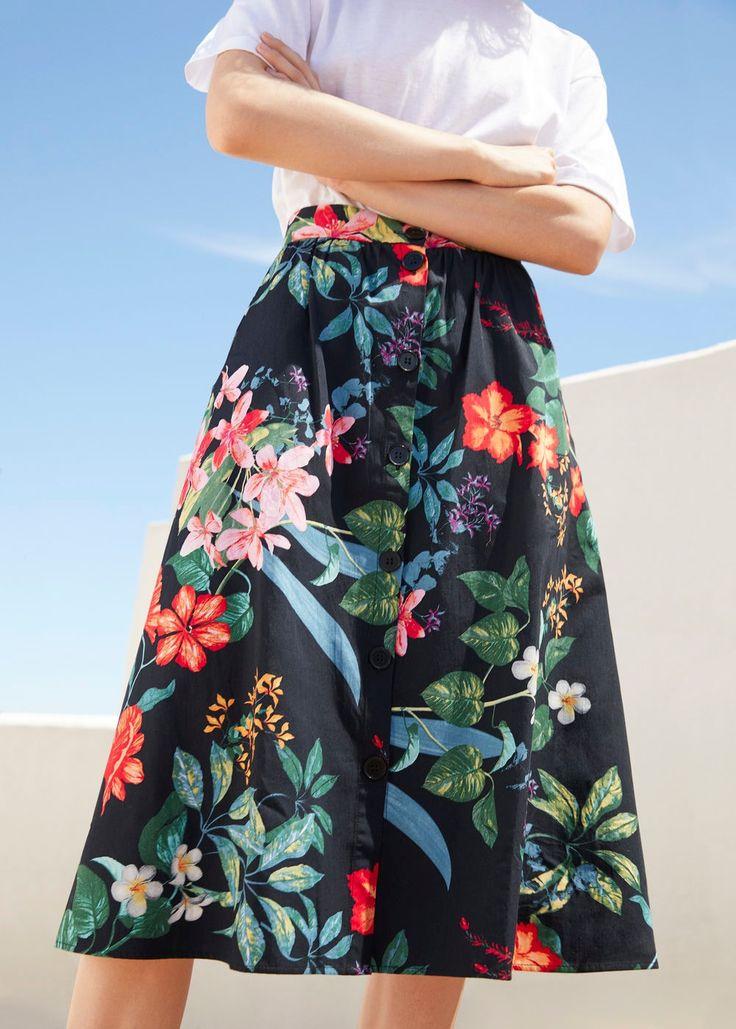 Floral midi skirt   MANGO