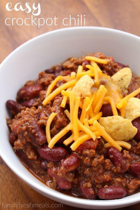 Easy Crockpot Chili - FamilyFreshMeals.com --