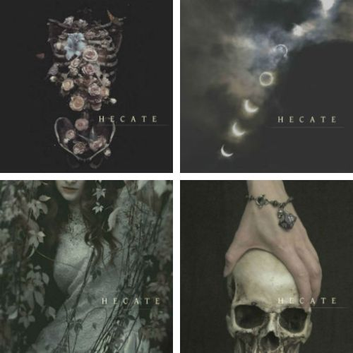 """hecate is the greek goddess of sorcery, often referred to as the """"queen of ghosts""""; she is variously associated with the moon, magic, witchcraft, crossroads, entrance-ways, knowledge of herbs and poisonous plants, ghosts and necromancy."""
