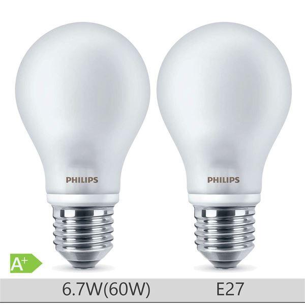 Set 2 becuri LED Philips 7W E27 forma clasica A60, lumina calda http://www.etbm.ro/becuri-led
