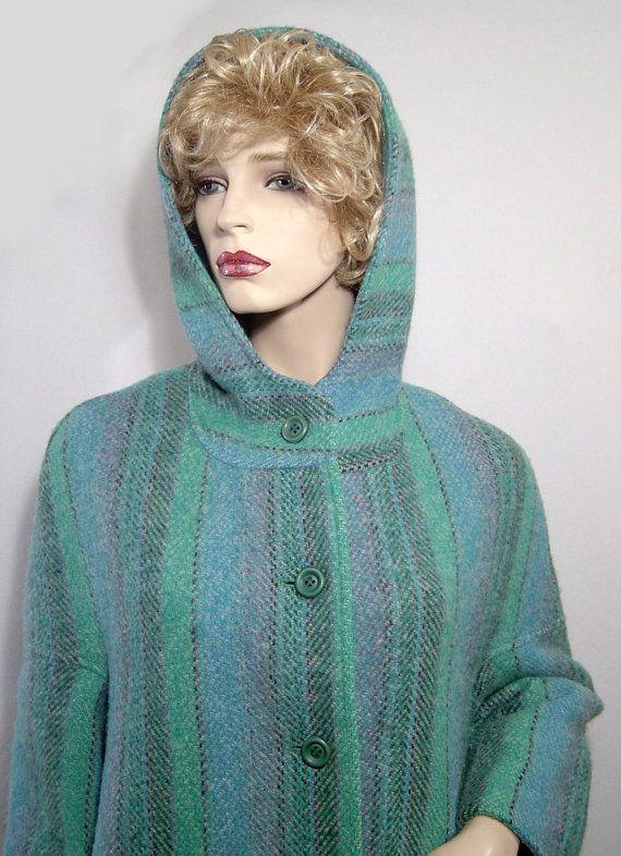 Pastel stripes wool cloak coat with hood  Plus size  by HerHeinous, $175.00