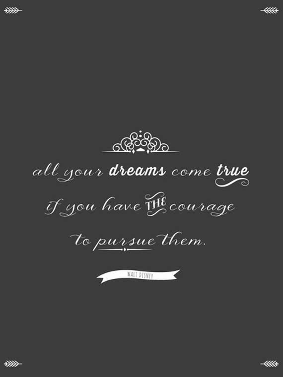 Inspirational Quote, Walt Disney Quote, Chalkboard Poster, Vintage Hipster Inspired - All dreams come true