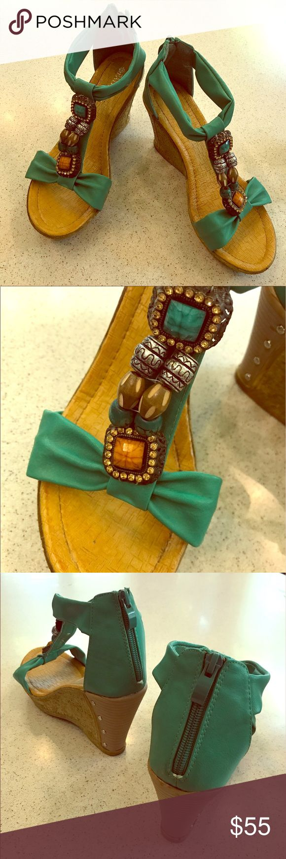 Turquoise wedges Slip into these sexy turquoise wedges this spring and summer! These super comfortable shoes are great with dresses, shorts, and jeans. These shoes have been worn once. They are in brand-new condition. Shoes Wedges