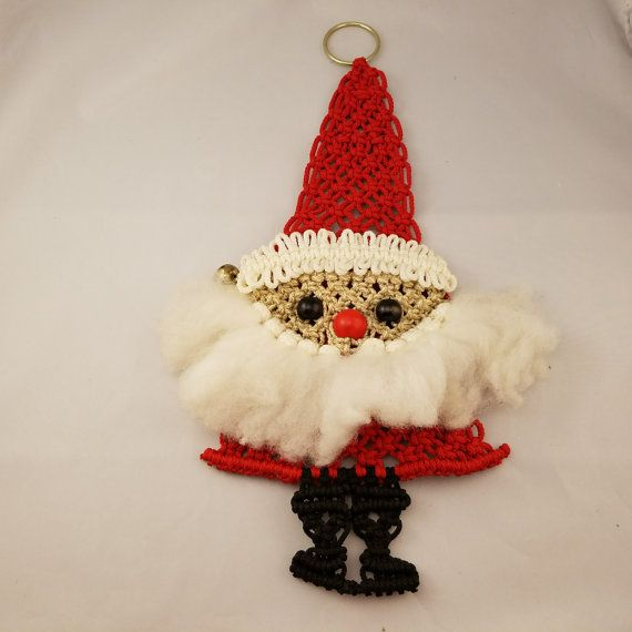 Vintage Macrame Santa Claus Wall Hanging by Stuckinthe80sVintage
