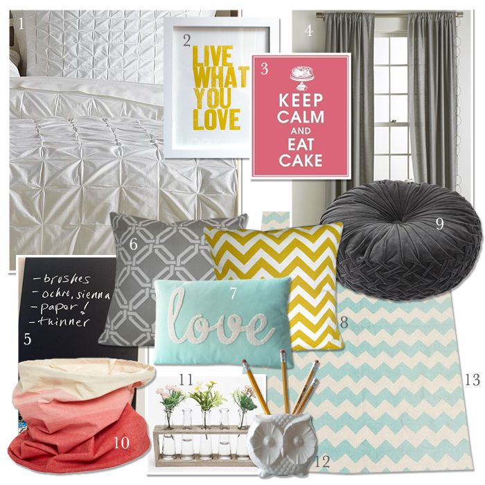 Style palette: Dorm Stuff, Bedrooms Colors Schemes, Dorm Decor, White Bedspreads, Colors Palettes, Dorm Ideas, Rooms Ideas, Dorm Rooms Design, Girls Rooms