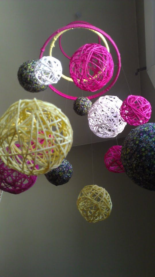 Pink and Yellow Yarn & Fabric Ball Baby Mobile by inthe2doghouse