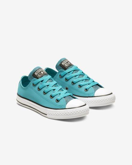 2479b8a5a5da4d Converse Chuck Taylor All Star Graphite Glitter Leather Low Top Big Kids   Shoe