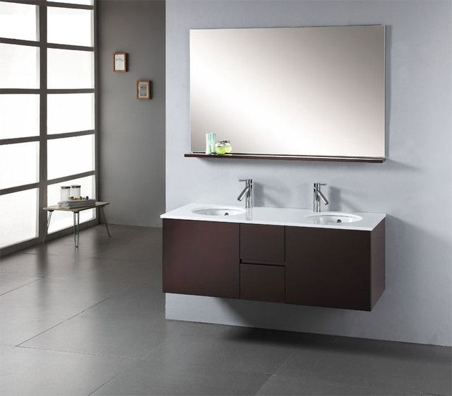 Bathroom Wallmounted Modern Small Vanities Under Large Frameless Mirror Two Framed Pictures And Acrylic