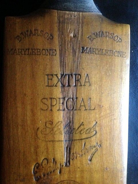 Signed Cricket Bat 1931 -Patsy Hendren, Jack Hobbs, Jack Hearne, Percy Fender, Les Ames, Plum Warner etc, to verso 4 County Teams Kent, Middlesex, Northants and Surrey 51 Autographs