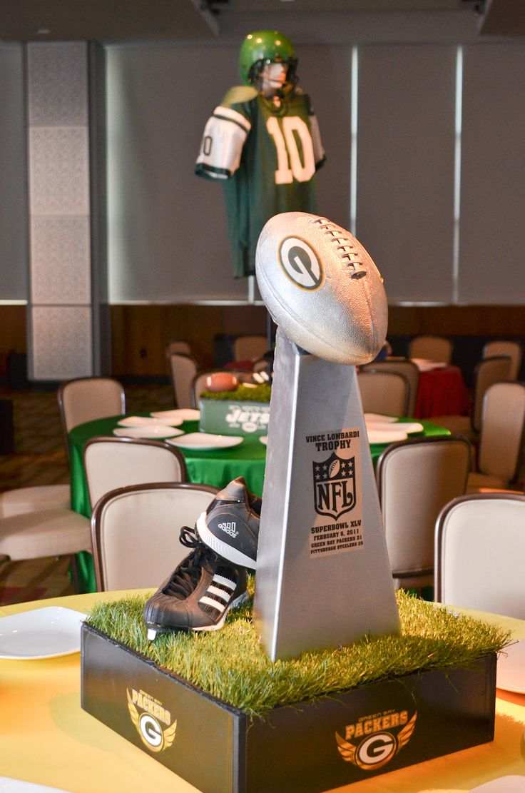 Bar Mitzvah & Bat Mitzvah Decor & Design: Football theme Centerpiece by MME Event Design & Productions. mmeentertainment.com. Call us now: 877.885.0705 | 212.971.5353