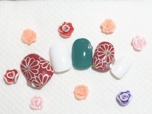 【再】『オーダー』和柄花のジェルネイルチップ