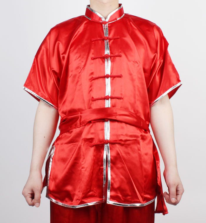 Wushu KungFu Uniform ChangQuan Uniforms Taichi Kung Fu Chinese RED Silver trim #KZZANG