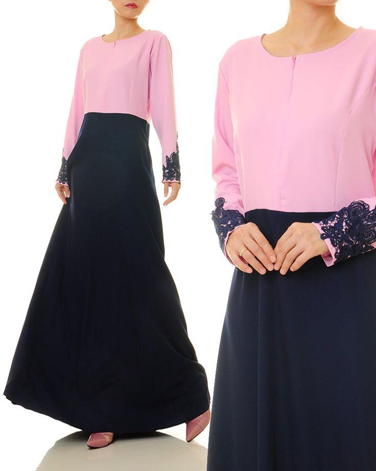 Pink Navy Maxi Dress | Abaya Maxi Dress | Wedding Dress With Sleeves | Long Sleeves Maxi Dress | Modest Dress - Size S/M 6363 by Tailored2Modesty on Etsy