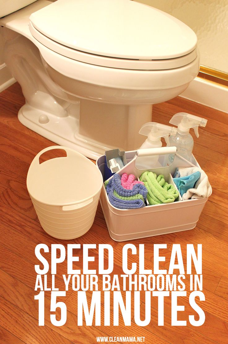 Be the master of your bathroom cleaning with this quick guide to cleaning all, yes ALL, of your bathrooms in 15 minutes. Via Clean Mama