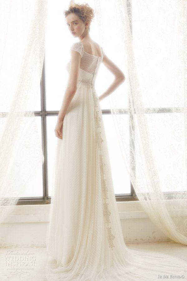 ir de bundo bridal 2015 liz illusion cap sleeve wedding dress empire waist drape a line skirt back view trrain
