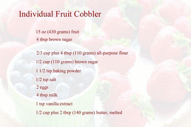 individual fruit cobblers recipe - ingredients
