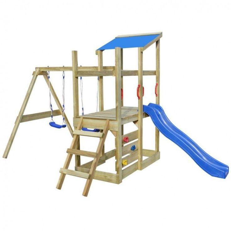 Kids Playhouse Set Ladder Wooden Playground Children Blue Slide Swings Toy Fun #KidsPlayhouseSet