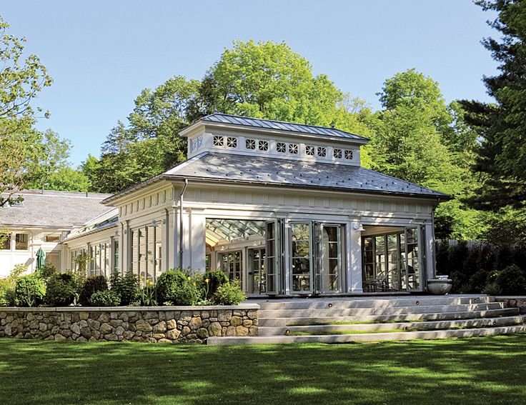 Gorgeous solarium:  wow!  Just look at all the windows; doors that fold open; love the walls; the steps; the grass growing between the steps; everything (Gleysteen Architects -Boston)