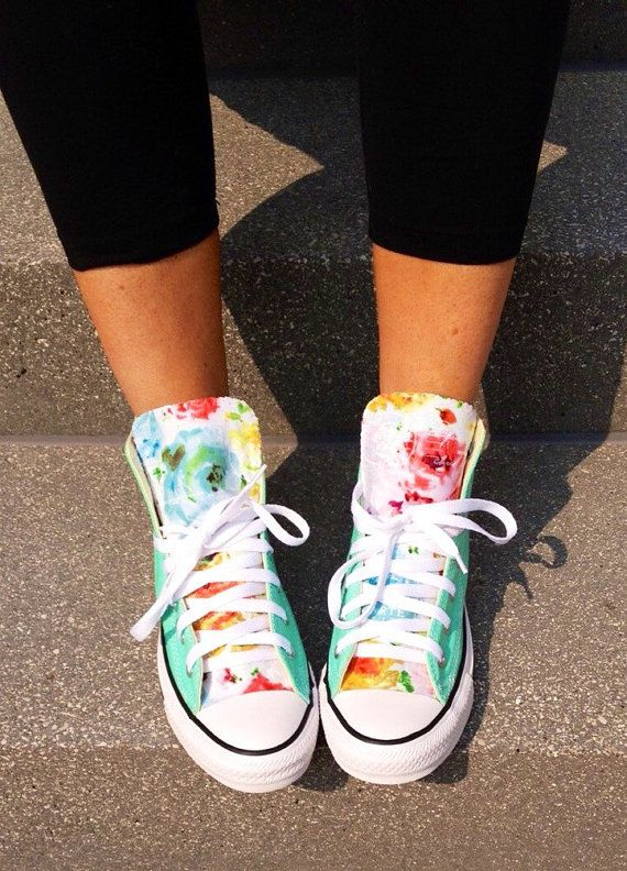 Mint Floral Converse Shoes by LoveChuckTaylors2 on Etsy