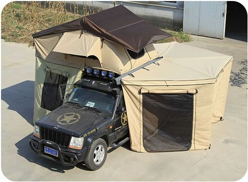 The roof top tent with the foxwing awning