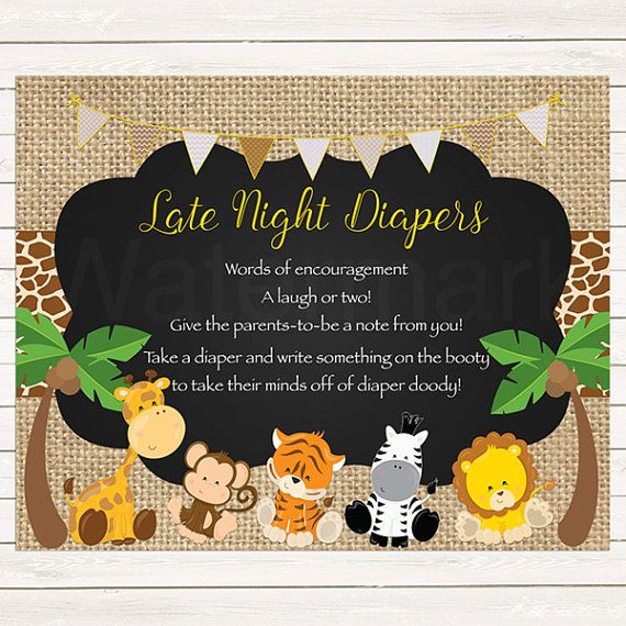 Safari Diaper Thoughts Sign Printable, Jungle Late Night Diapers Sign Instant Download Printable, JPEG PDF Printable