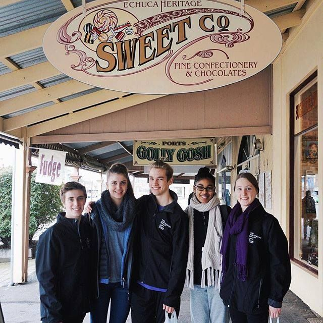 Xavier Pellin, Elise Foster, Jackson Fisch, Tene Ward and Anastasia McDonald-Spicer in front of the Echuca sweet shop as part of their tour with The Dancers Company.
