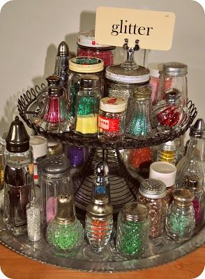 Glitter storage in antique shakers. Too cool for school
