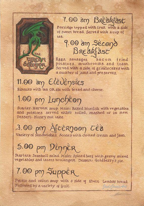 Le Menu de Dragon vert. Seigneur des anneaux / Hobbit A4 imprimé d'inspiration. Oeuvre par Jade Jones