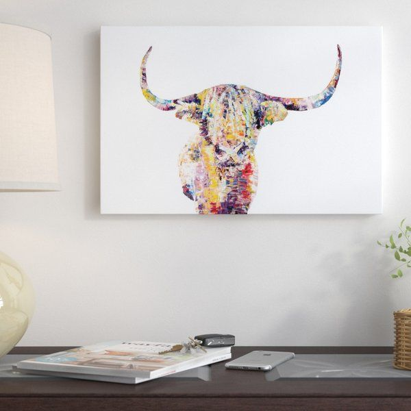 Highland Cow Wrapped Canvas Painting Print Highland Cow Painting Stretched Canvas Wall Art Personalized Canvas Art